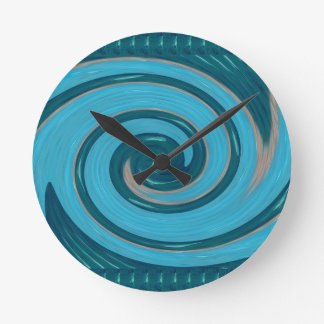 BLUE TORNADO Wave Twirl Graphic Gifts Greetings FU Wallclocks