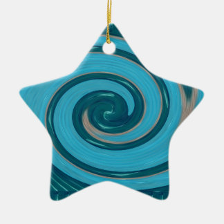 BLUE TORNADO Wave Twirl Graphic Gifts Greetings FU Christmas Tree Ornaments
