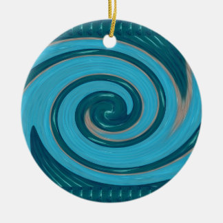 BLUE TORNADO Wave Twirl Graphic Gifts Greetings FU Christmas Ornaments