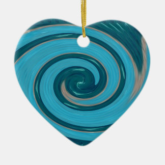 BLUE TORNADO Wave Twirl Graphic Gifts Greetings FU Christmas Tree Ornament