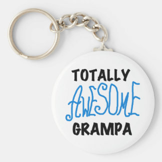 Blue Totally Awesome Grampa T-shirts and Gifts Basic Round Button Keychain