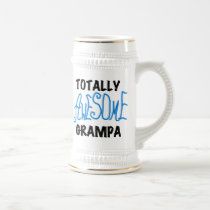 Blue Totally Awesome Grampa T-shirts and Gifts Beer Stein