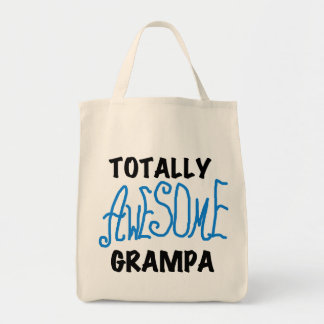 Blue Totally Awesome Grampa T-shirts and Gifts Grocery Tote Bag