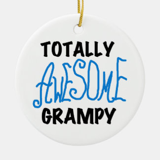 Blue Totally Awesome Grampy Tshirts and Gifts Double-Sided Ceramic Round Christmas Ornament