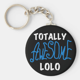 Blue Totally Awesome Lolo T-shirts and Gifts Basic Round Button Keychain