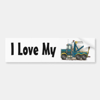 """Blue Tow Truck Wrecker, I Love My Bumper Sticker"" Bumper Sticker"