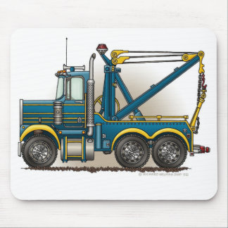 Blue Tow Truck Wrecker Mouse Pad