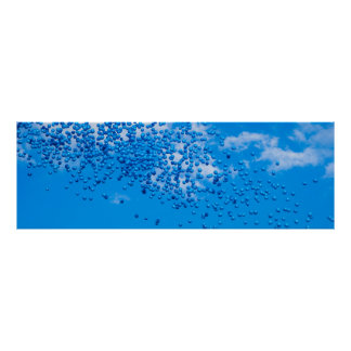 Blue toy balloons in the sky poster