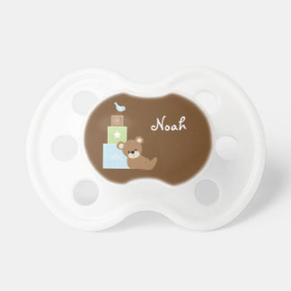 Blue Toy Bear and Alphabet Blocks Pacifier