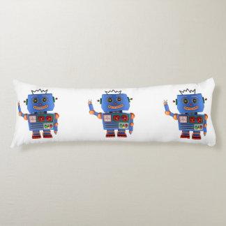 Blue toy robot waving hello body pillow