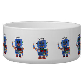 Blue toy robot waving hello bowl