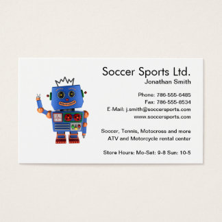 Blue toy robot waving hello business card