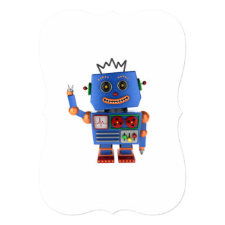 Blue toy robot waving hello card