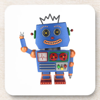 Blue toy robot waving hello coaster