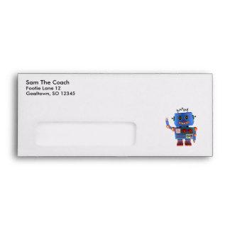 Blue toy robot waving hello envelope