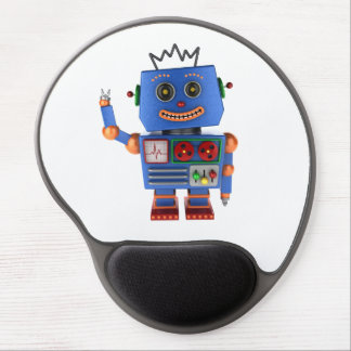 Blue toy robot waving hello gel mouse pad