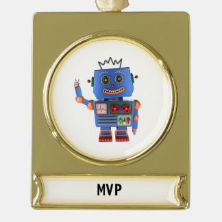 Blue toy robot waving hello gold plated banner ornament