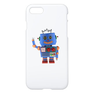 Blue toy robot waving hello iPhone 7 case