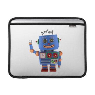 Blue toy robot waving hello MacBook sleeve