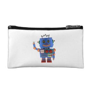 Blue toy robot waving hello makeup bag