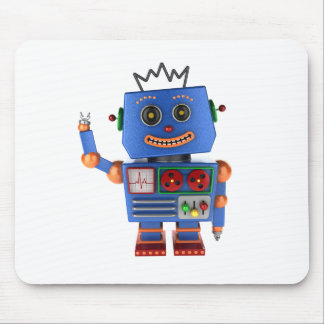 Blue toy robot waving hello mouse pad