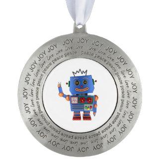 Blue toy robot waving hello ornament