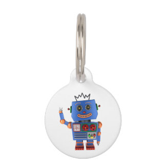 Blue toy robot waving hello pet name tag