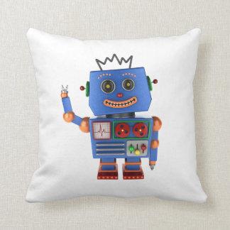 Blue toy robot waving hello pillow