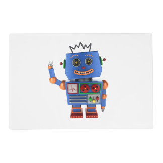 Blue toy robot waving hello placemat