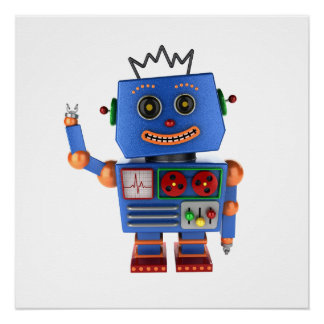 Blue toy robot waving hello poster