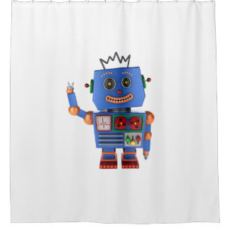 Blue toy robot waving hello shower curtain