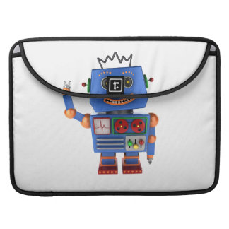 Blue toy robot waving hello sleeve for MacBook pro
