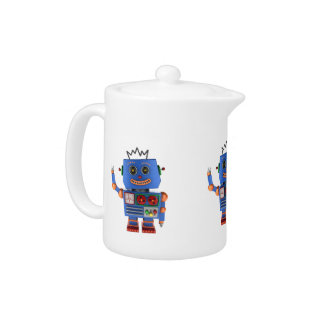 Blue toy robot waving hello teapot