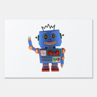 Blue toy robot waving hello yard sign