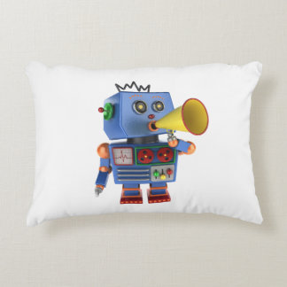 Blue toy robot with bullhorn accent pillow