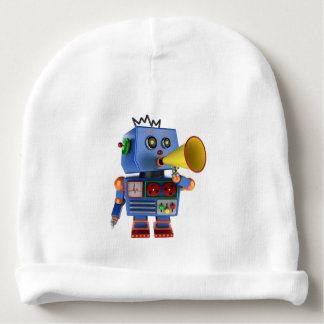 Blue toy robot with bullhorn baby beanie