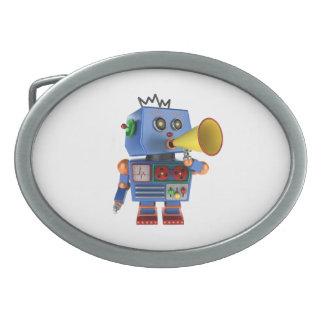Blue toy robot with bullhorn belt buckle