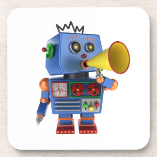 Blue toy robot with bullhorn beverage coaster