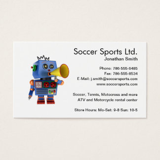 Blue toy robot with bullhorn business card