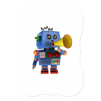 Blue toy robot with bullhorn card