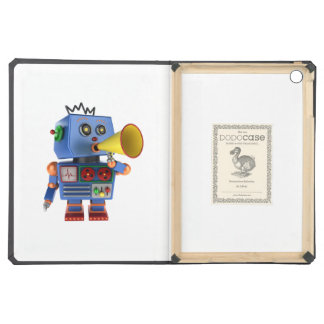 Blue toy robot with bullhorn case for iPad air