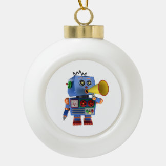 Blue toy robot with bullhorn ceramic ball christmas ornament