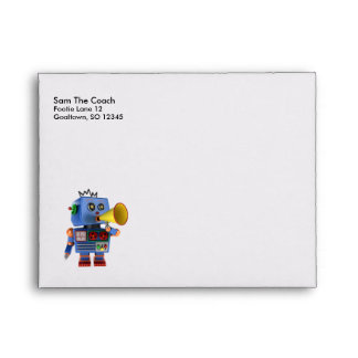 Blue toy robot with bullhorn envelope