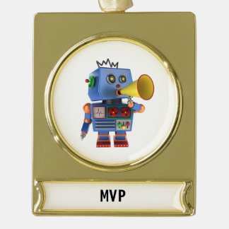 Blue toy robot with bullhorn gold plated banner ornament