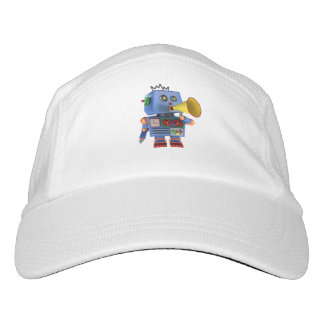 Blue toy robot with bullhorn headsweats hat