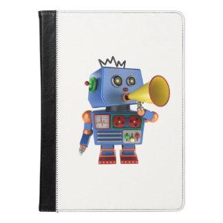 Blue toy robot with bullhorn iPad air case