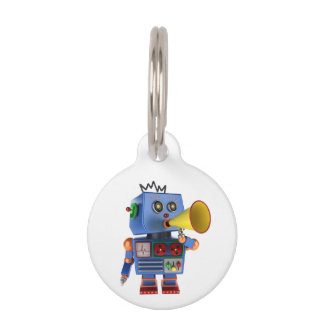 Blue toy robot with bullhorn pet ID tag