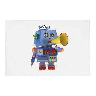Blue toy robot with bullhorn placemat