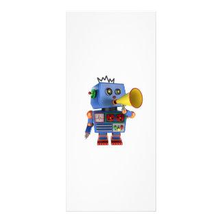 Blue toy robot with bullhorn rack card