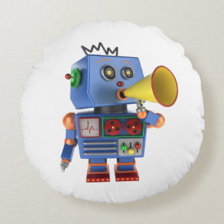Blue toy robot with bullhorn round pillow